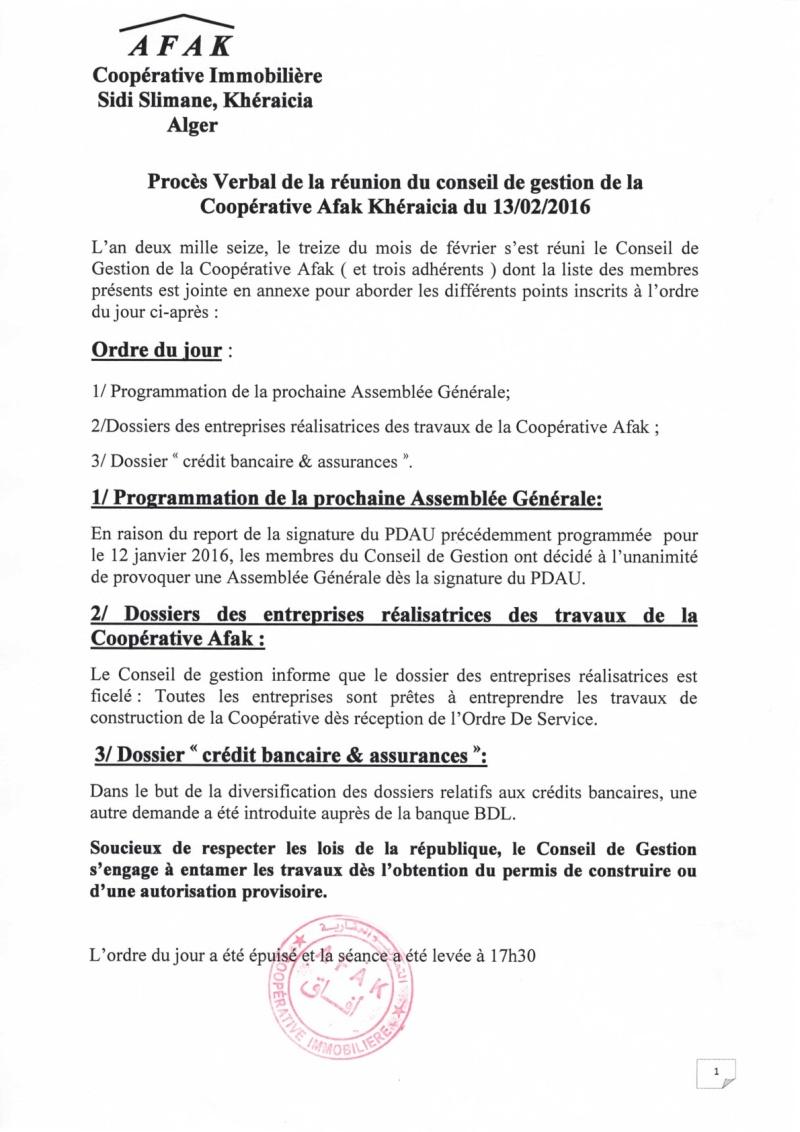 Documents officiels concernant le projet AFAK dans l'ordre chrologique 2016-013