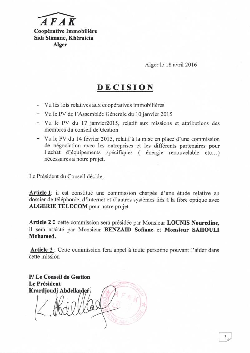 Documents officiels concernant le projet AFAK dans l'ordre chrologique 2016-015