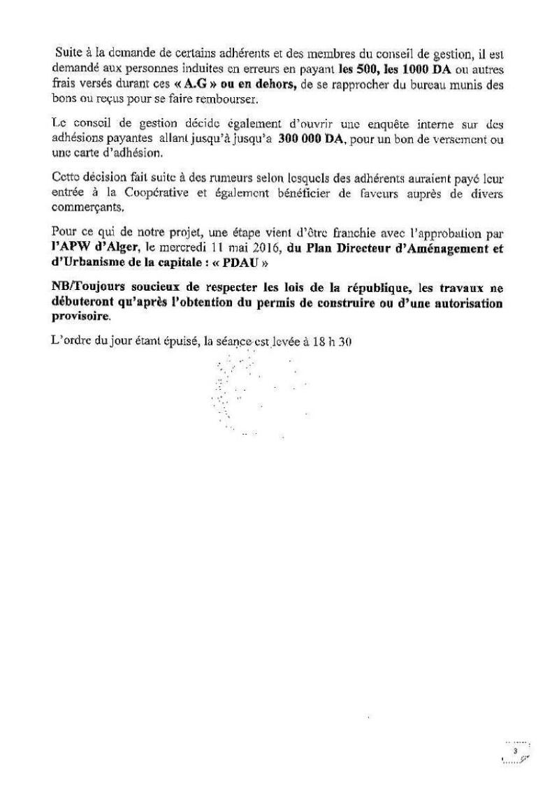 Documents officiels concernant le projet AFAK dans l'ordre chrologique 2016-021