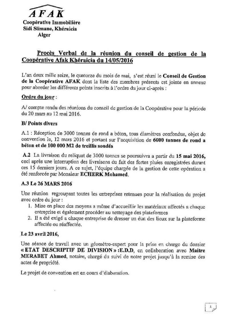 Documents officiels concernant le projet AFAK dans l'ordre chrologique 2016-022
