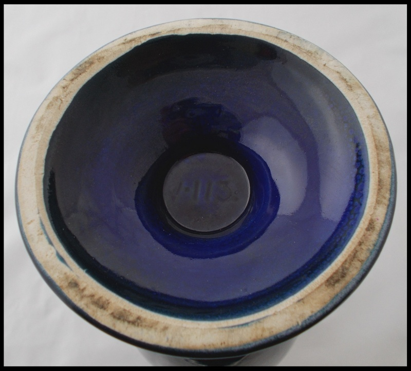 Titian V 113 blue glaze with dandelion transfer Dscn8112