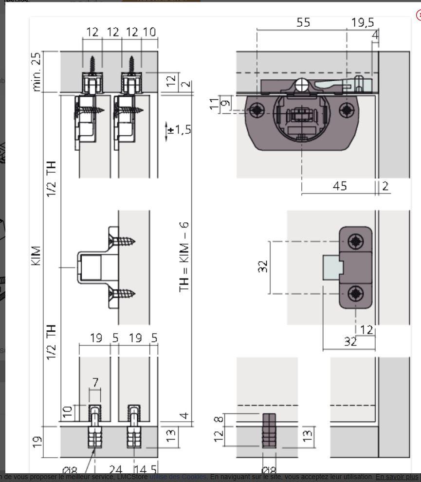 conseil pour rail coulissant meuble Clipo110