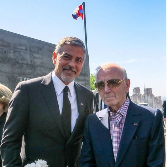 George Clooney and Aznavour together to commemorate the 101 years of the Armenian Genocide Cc10