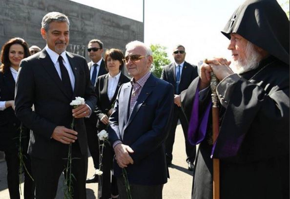 George Clooney and Aznavour together to commemorate the 101 years of the Armenian Genocide Cc210