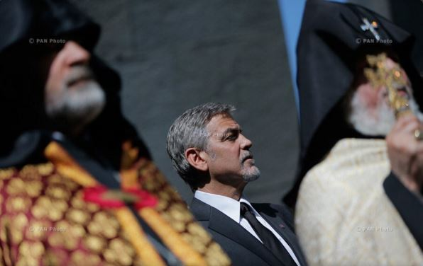 George Clooney and Aznavour together to commemorate the 101 years of the Armenian Genocide Cc310
