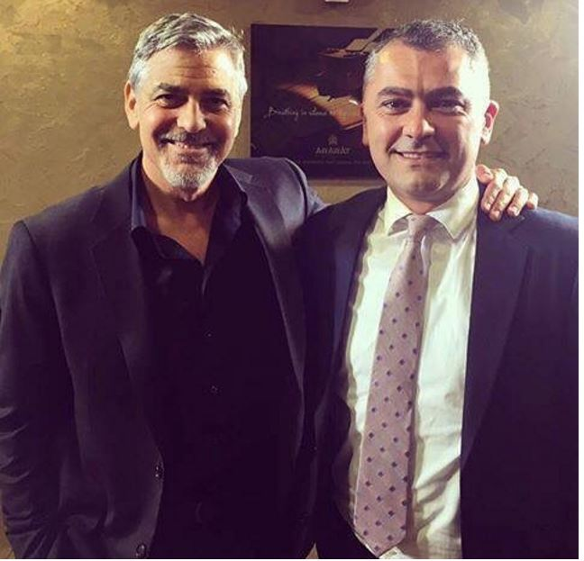 George Clooney with newmag's chief Artak Aleksanyan Dd310