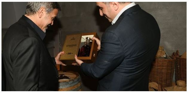 George Clooney visits Ararat Armenian Brandy factory Uu310