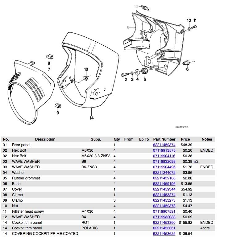 WTB 1988 k100 Standard Headlight Fairing / Radiator Cover K100na10