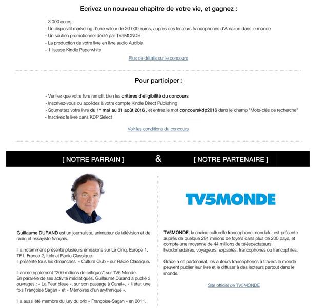 """concours d'écriture """"Les plumes francophones"""" (Kindle / direct publishing / Tv5 monde Concou10"""
