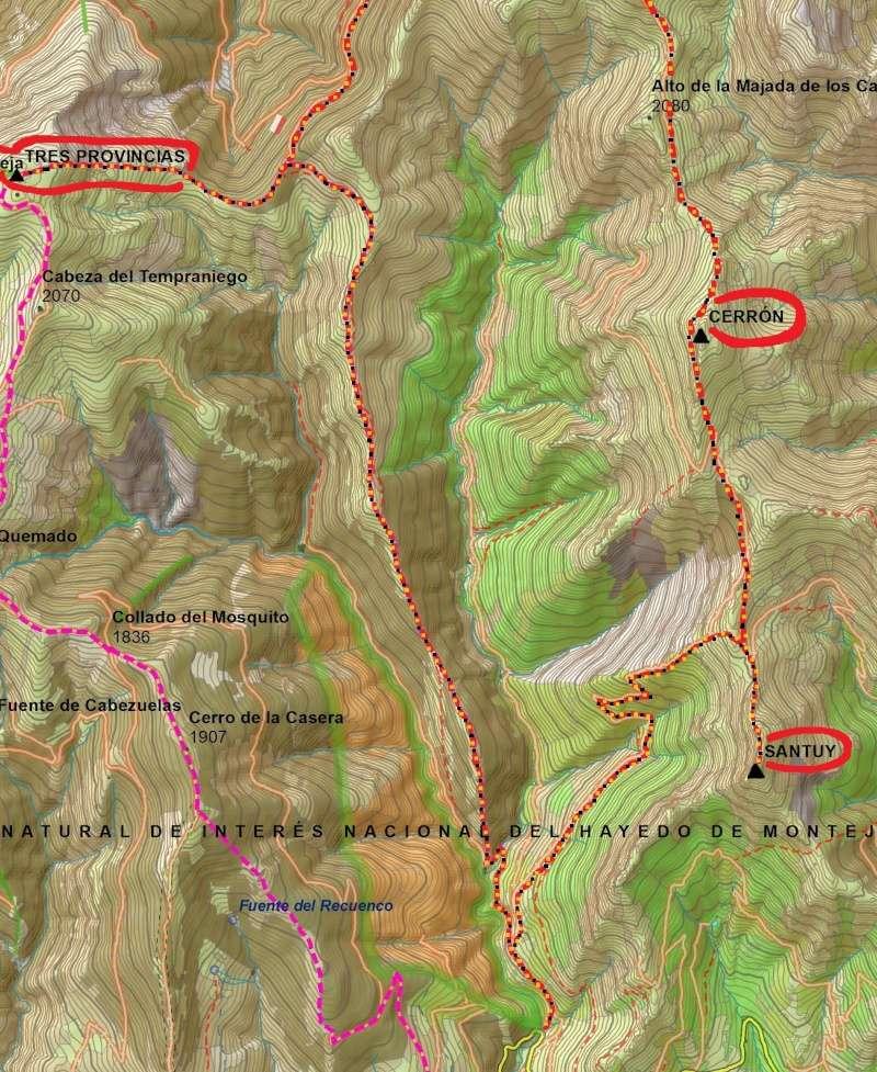 Senderismo: 7 y 8 de mayo 2016 - Circular al Hayedo de Montejo (con ascensiones al Tres Provincias, Cerrón y Santuy) [CANCELADO] Mapa10