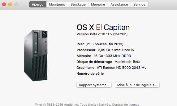 osx beta build 10.11.5  15f28b Mac10