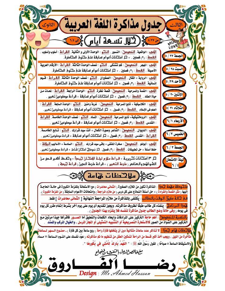 جدول مذاكرة اللغة العربية للثانوية العامة فى 9 أيام فقط .. أنت من الأوائل بإذن الله 128