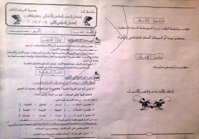 محافظة المنيا: امتحان اللغة العربية للصف السادس الابتدائى الترم الثاني 2016 13219910