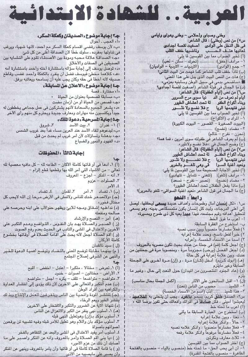 ملحق الجمهورية.. ينشر مراجعة لغة عربية سؤال وجواب للشهادة الابتدائية الترم الثانى 7/5/2016 315
