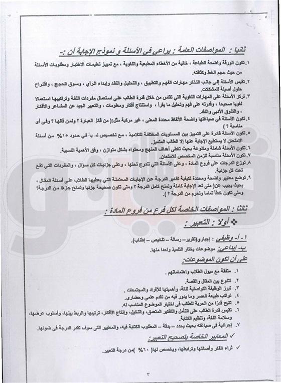 مواصفات امتحان اللغة العربية للثانوية العامة 2016 46910