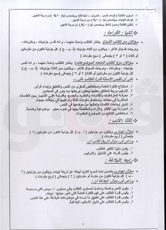 مواصفات امتحان اللغة العربية للثانوية العامة 2016 47010