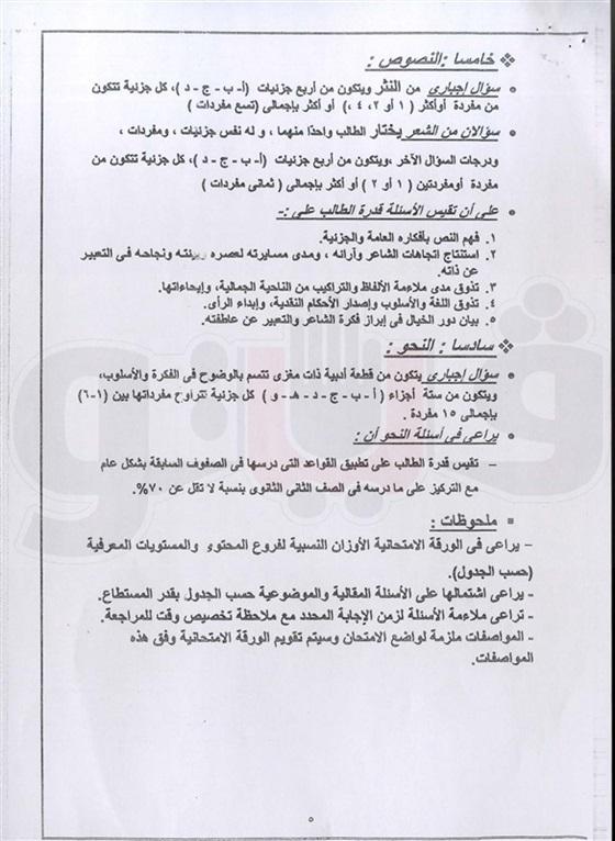 مواصفات امتحان اللغة العربية للثانوية العامة 2016 47110