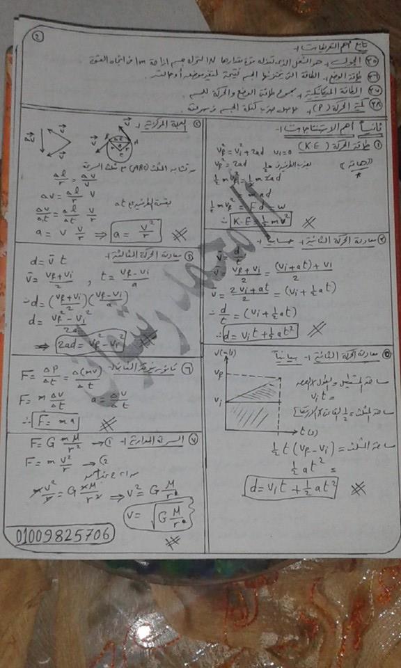 مراجعة فيزياء الصف الاول الثانوى بالكامل فى 6 ورقات فقط 617