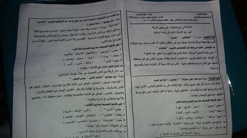 ورقة امتحان لغة عربية الشهادة الابتدائية ترم ثاني 2016 محافظة القاهرة 6_110