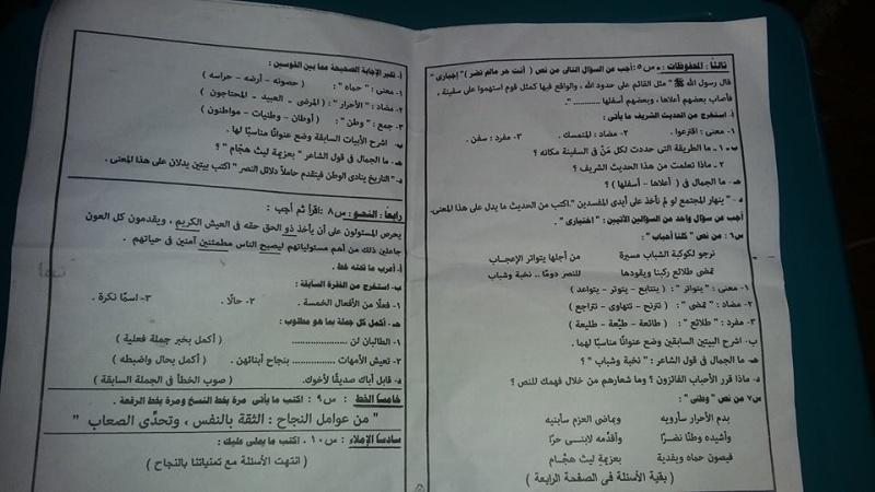 ورقة امتحان لغة عربية الشهادة الابتدائية ترم ثاني 2016 محافظة القاهرة 6_210