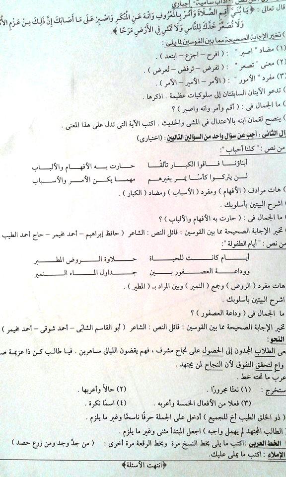 محافظة الاسكندرية: امتحان اللغة العربية للصف السادس الابتدائي ترم ثان 2016 A110