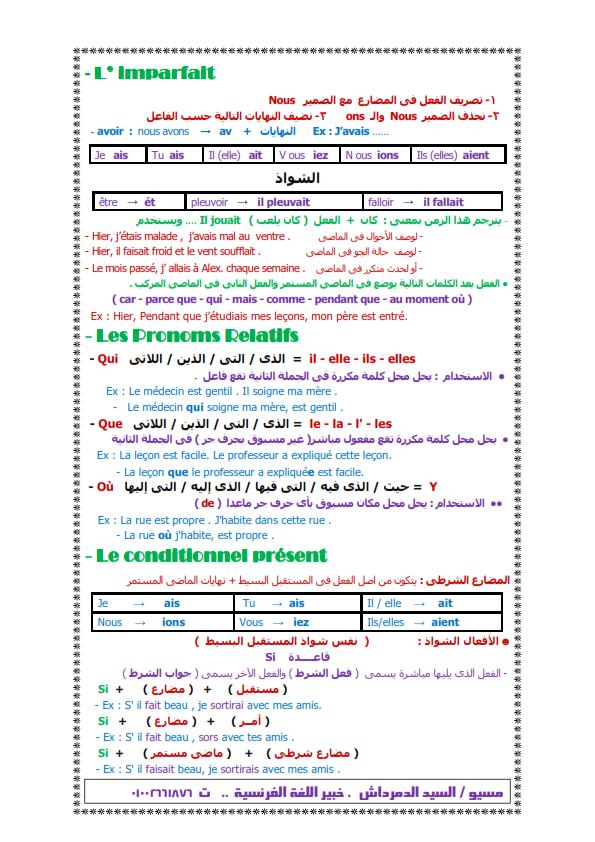 خلاصه قواعد اللغه الفرنسية لثالثة ثانوي في 7 ورقات Od_oo_11
