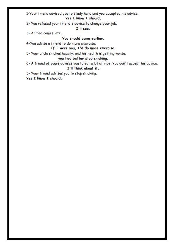 كراسة التفوق لكل مواقف اللغة الانكليزية التيرم الثاني كاملة بالامثلة للصف الثالث الإعدادى - صفحة 13 Ouii_o10