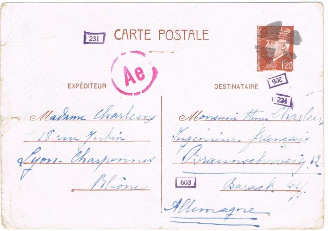 Entier Pétain 1F20 oblitération bouchon pour un STO. Ccf26010