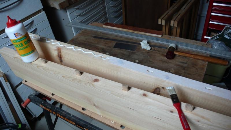Escalier provisoire devenu définitif en pin sylvestre, à double balancements L1040522