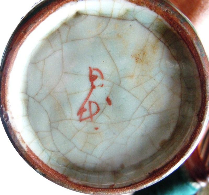 Japanese Pottery Celadon Crackle Glaze (Séto?) Samurai two actors? Dscn9916