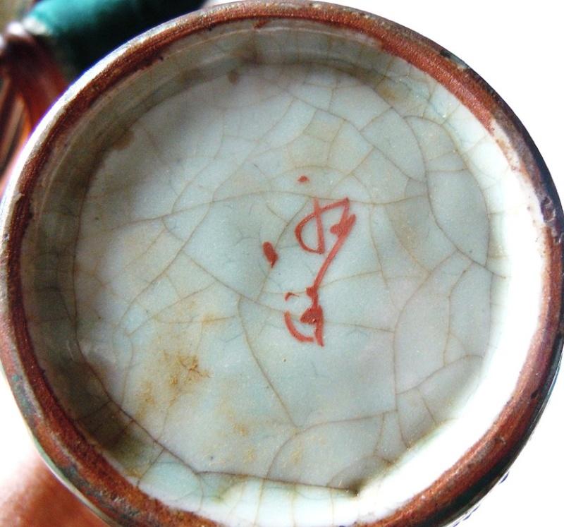 Japanese Pottery Celadon Crackle Glaze (Séto?) Samurai two actors? Dscn9917