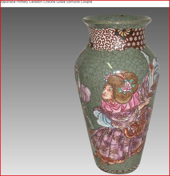 Japanese Pottery Celadon Crackle Glaze (Séto?) Samurai two actors? Rubila10