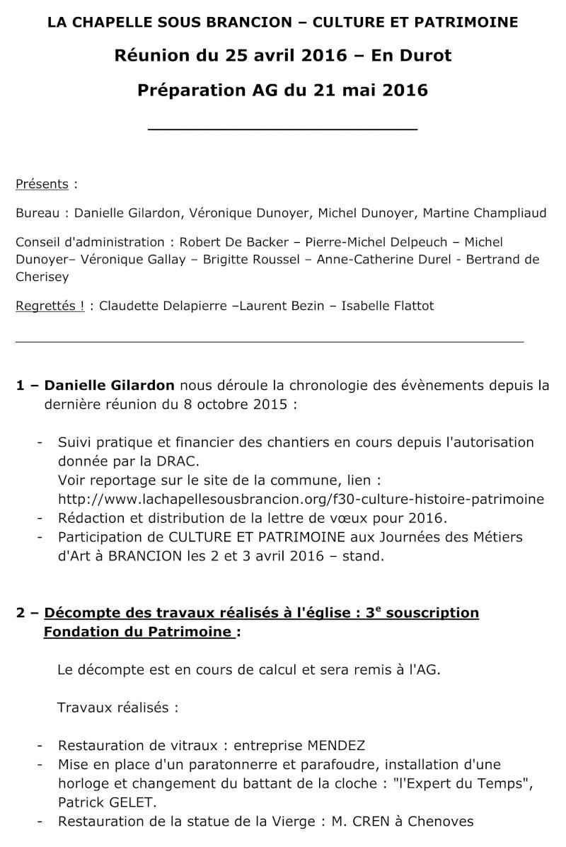 Réunion du 25 avril 2016 – En Durot  Préparation AG du 21 mai 2016  112