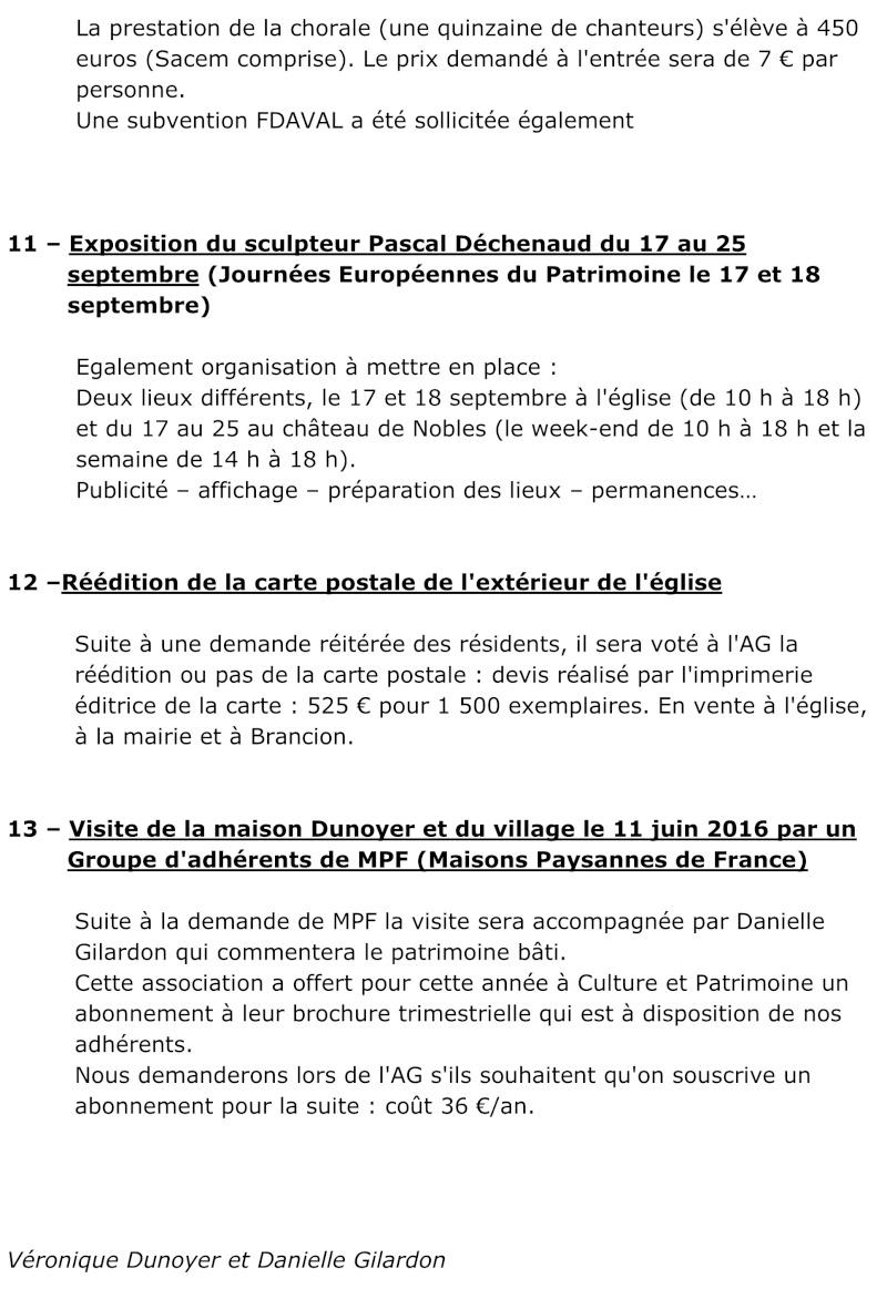 Réunion du 25 avril 2016 – En Durot  Préparation AG du 21 mai 2016  412