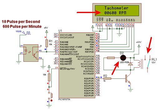 """المشاريع المتوسطة : 1- مشروع عداد السرعة """"التاكوميتر"""" Tachometer باستخدام الميكروكونترولر PIC  213"""