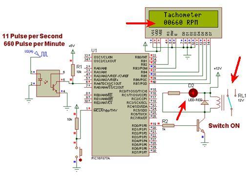 """المشاريع المتوسطة : 1- مشروع عداد السرعة """"التاكوميتر"""" Tachometer باستخدام الميكروكونترولر PIC  313"""