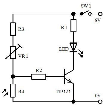 4- حساس إظلام بسيط باستخدام ترانزيتور دارلنجتون  416