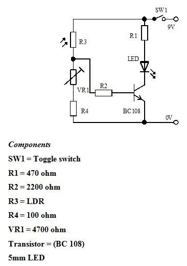 5- حساس للضوء باستخدام ترانزستور و6- -حساس ضوء بالستخدام ترانزستور دارلنجتون  515