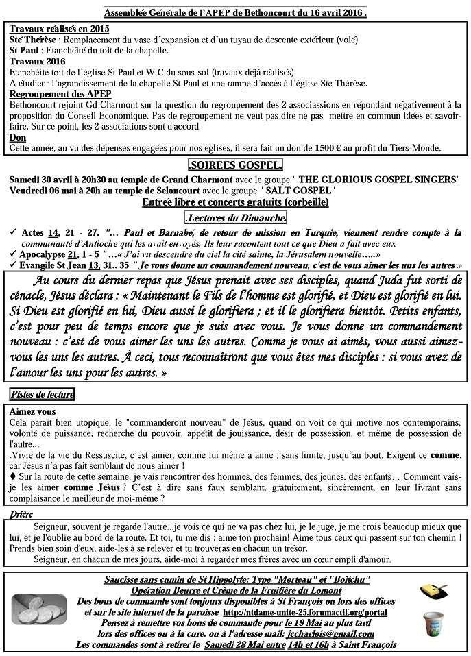 Trait d'Union du 24 avril 201- + commande saucisses + annonce Gospel Tu160415