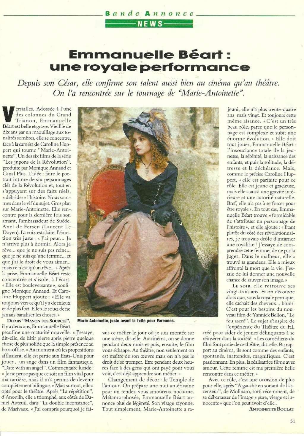 Marie Antoinette, reine d'un seul amour de Caroline Huppert, avec Emmanuelle Béart - Page 2 Zmac13