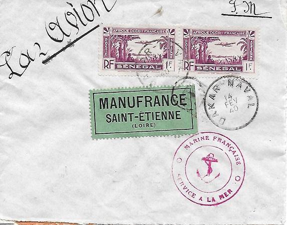 Bureau Postal Naval Temporaire N° 33 de Dakar Dakar11