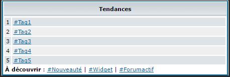 Nouveautés: Widgets utilisateurs les plus tagués et mots clés les plus tagués 312