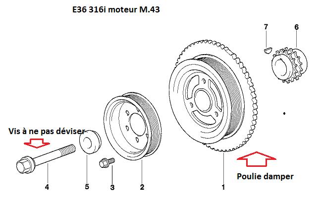 [ BMW e36 316i M43 an 1998 ] démontage poulie damper moteur 11_m4310