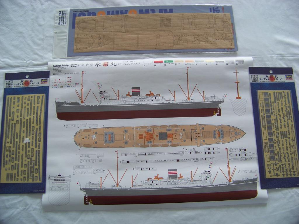 Paquebot mixte Hikawa Maru, pont bois, photo-découpe, Hasegawa 1/350. 100_9362