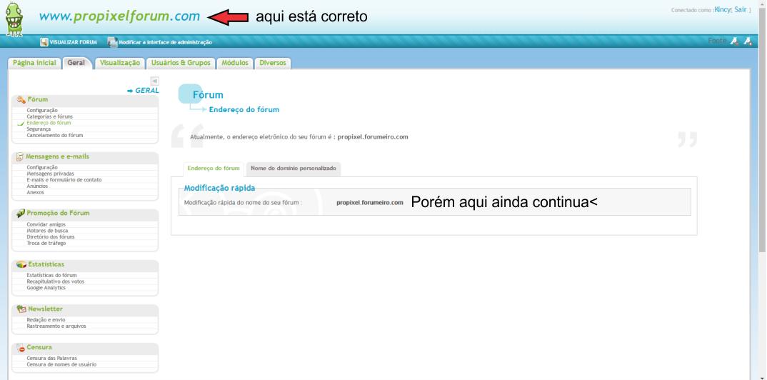 Domínio personalizado propagado, mas, domínio Forumeiros.com ainda funciona Proble15