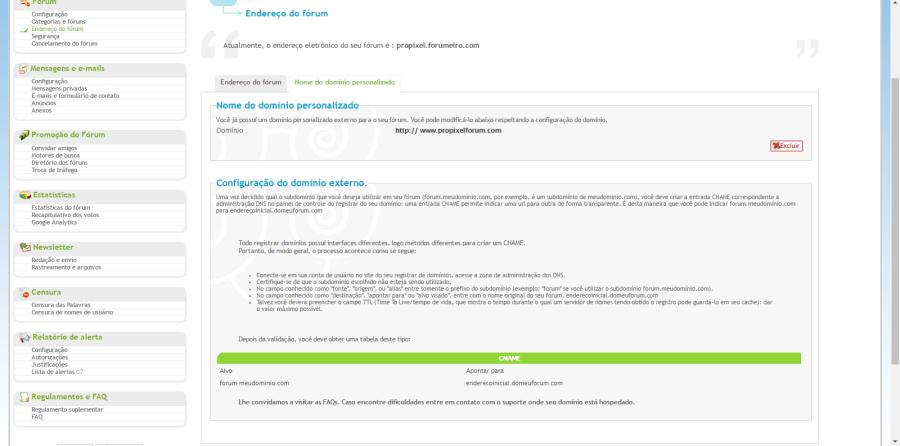 Domínio personalizado propagado, mas, domínio Forumeiros.com ainda funciona Proble16