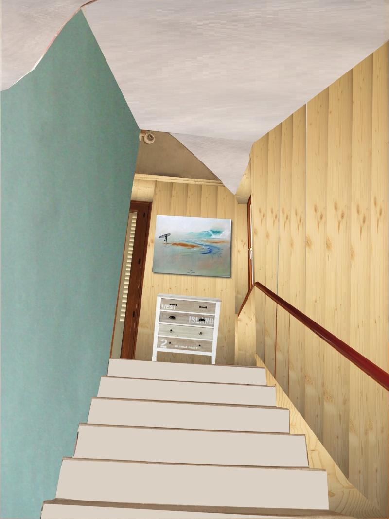 escalier en cours de relooking lambris naturel clair esprit vacances 01cela10