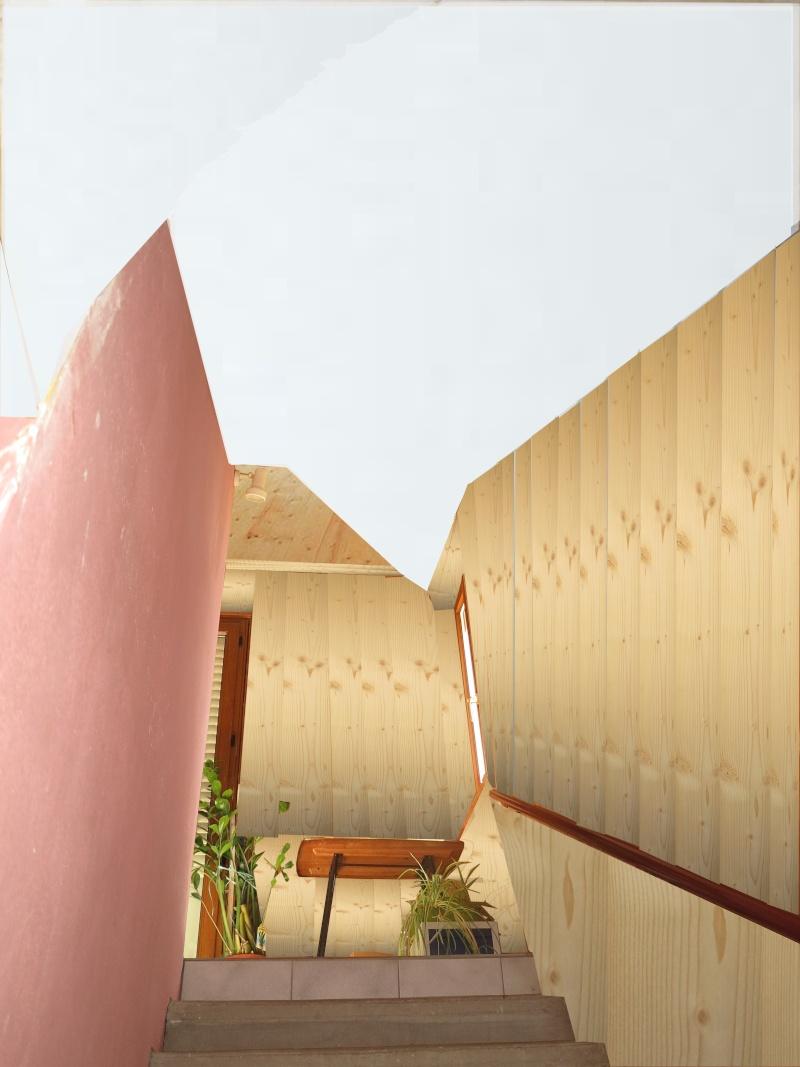 escalier en cours de relooking lambris naturel clair esprit vacances Notre_10