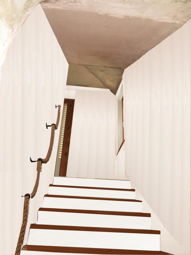 escalier en cours de relooking lambris naturel clair esprit vacances Notre_13