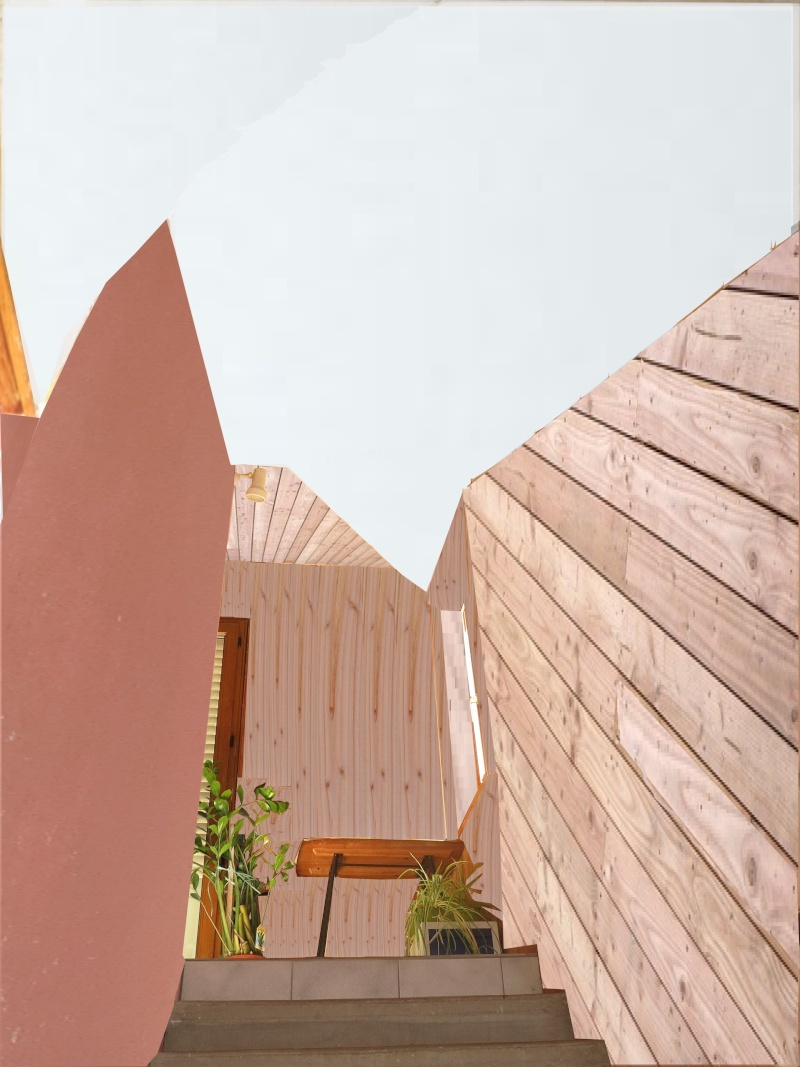 escalier en cours de relooking lambris naturel clair esprit vacances Simu_e10